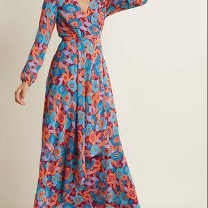 floral feax-wrap dress